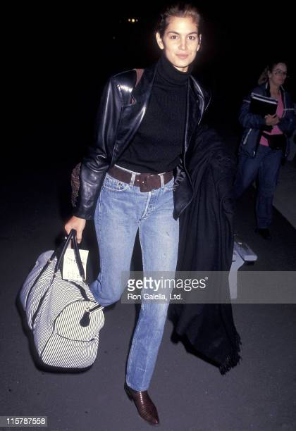 Model Cindy Crawford arrives from New York City on February 22 1991 at the Los Angeles International Airport in Los Angeles California