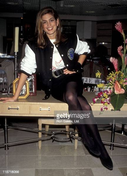 Model Cindy Crawford attends a press conference to announce her association with JH Collectibles to launch a sportwear line on August 23 1990 at JH...