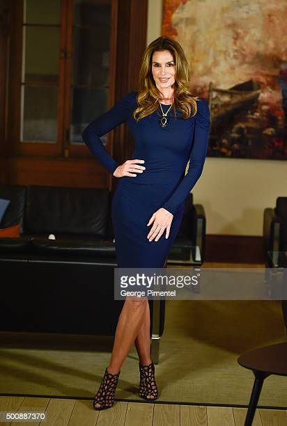Model Cindy Crawford attends Saks Fifth Avenue private cocktail and Q A with Fern Mallis at AGO on December 10 2015 in Toronto Canada