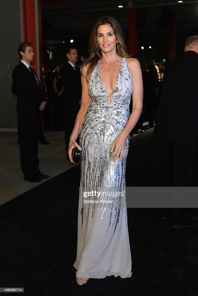 Model Cindy Crawford attends the 2014 LACMA Art Film Gala honoring Barbara Kruger and Quentin Tarantino presented by Gucci at LACMA on November 1...