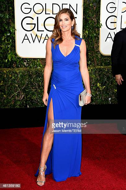 Model Cindy Crawford attends the 72nd Annual Golden Globe Awards at The Beverly Hilton Hotel on January 11 2015 in Beverly Hills California