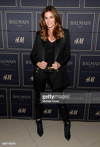 Model Cindy Crawford attends the Balmain x HM Los Angeles VIP PreLaunch on November 4 2015 in West Hollywood California