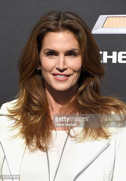 Model Cindy Crawford attends the premiere of Disney's 'Tomorrowland' at AMC Downtown Disney 12 Theater on May 9 2015 in Anaheim California