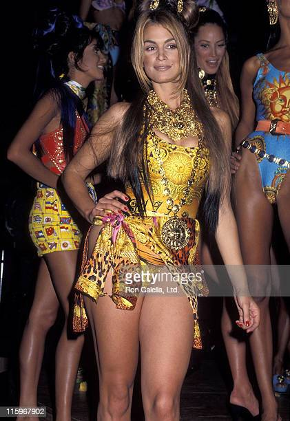 Model Cindy Crawford attends Versace's 'Rock 'N Rule' Fashion Show Gala to Benefit amfAR on September 14 1992 at Park Avenue Armory in New York City