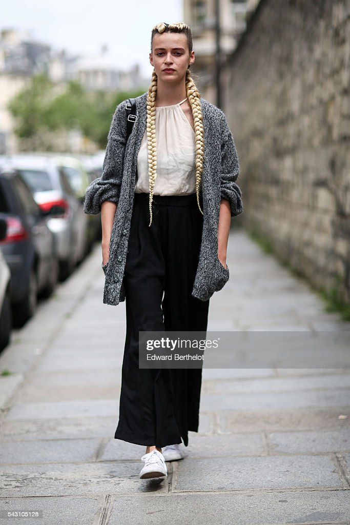 Model Claire Laboissette is seen, after the Avoc show, during Paris Fashion Week Menswear Spring/summer 2017, on June 25, 2016 in Paris, France.