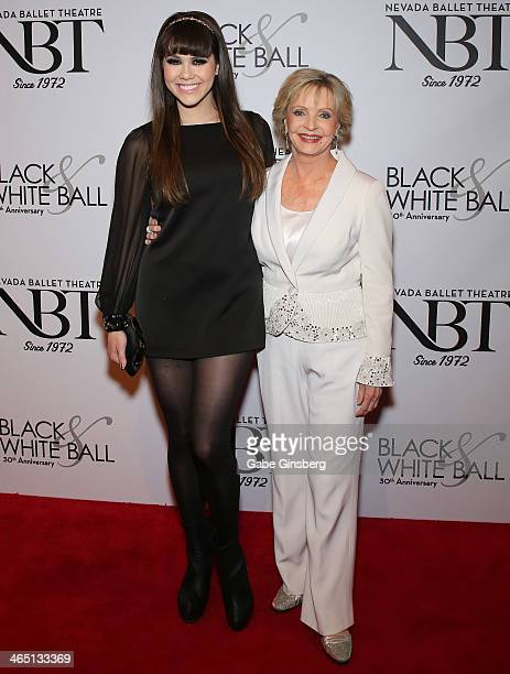 Model Claire Sinclair and actress Florence Henderson arrive at Nevada Ballet Theatre presents 'The Black White Ball's 30th Anniversary' at the Aria...