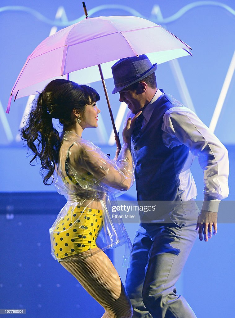 Model <a gi-track='captionPersonalityLinkClicked' href=/galleries/search?phrase=Claire+Sinclair&family=editorial&specificpeople=6960124 ng-click='$event.stopPropagation()'>Claire Sinclair</a> (L) and dancer Ryan Kelsey perform during the premiere of the show 'Pin Up' at the Stratosphere Casino Hotel on April 29, 2013 in Las Vegas, Nevada.