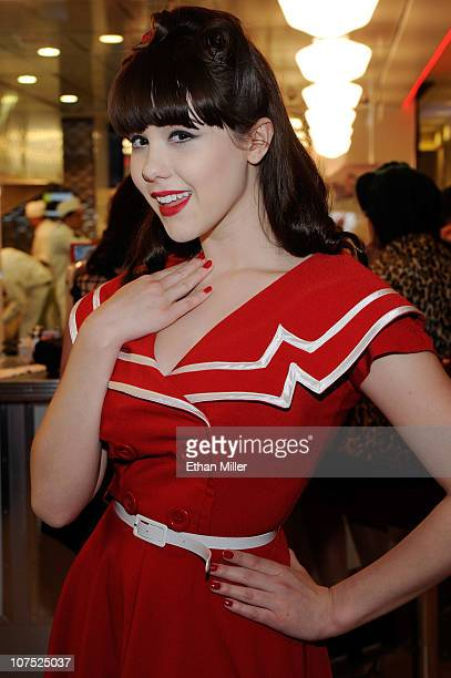 Model Claire Sinclair appears in Bettie Page style dress at Johnny Rockets at the Flamingo Las Vegas to celebrate the restaurant's grand opening...