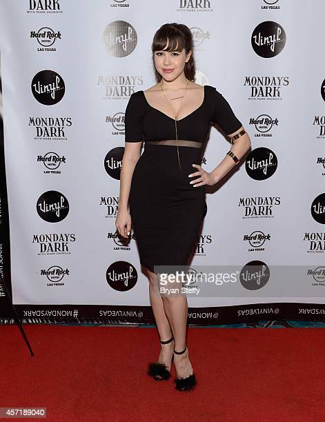 Model Claire Sinclair arrives at Mondays Dark with Mark Shunock benefiting the Healing Curve at Vinyl inside the Hard Rock Hotel Casino on October 13...