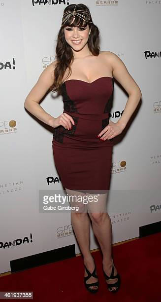 Model Claire Sinclair arrives at the world premiere media night of 'Panda' at The Palazzo Las Vegas on January 11 2014 in Las Vegas Nevada