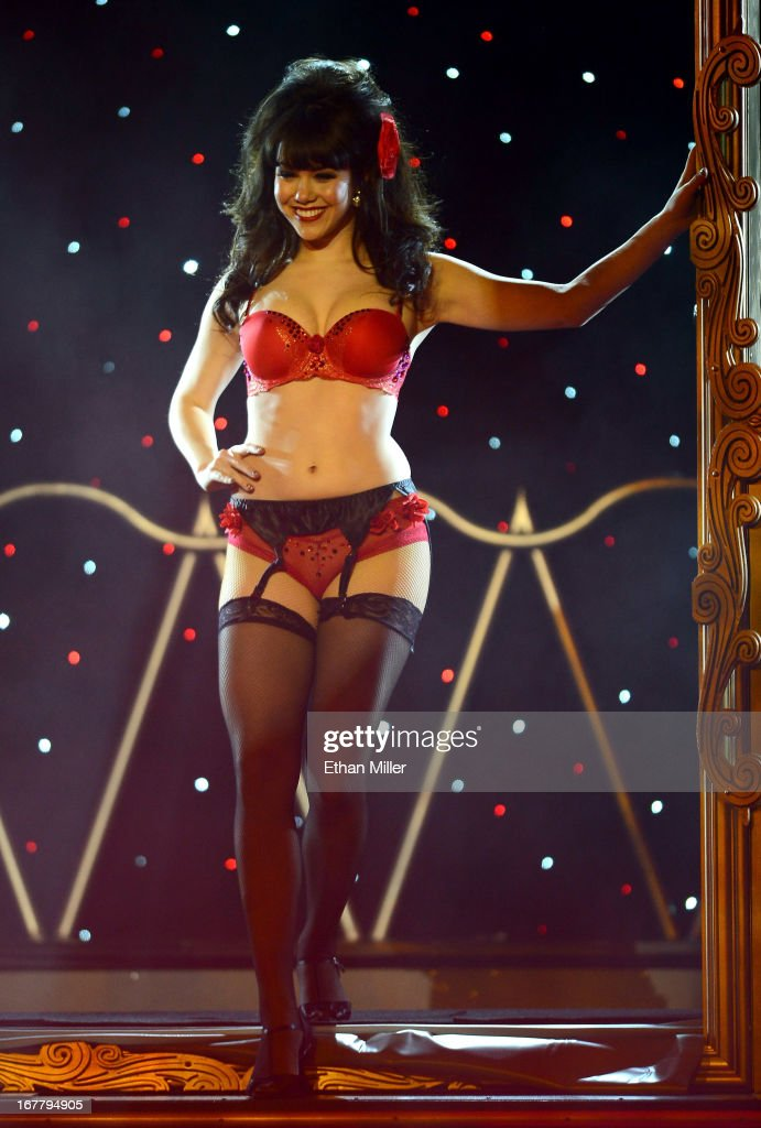 Model Claire Sinclair performs during the premiere of the show 'Pin Up' at the Stratosphere Casino Hotel on April 29, 2013 in Las Vegas, Nevada.