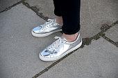 Model Claudia Kozik wears Reebok shoes on February 24 2015 in London England