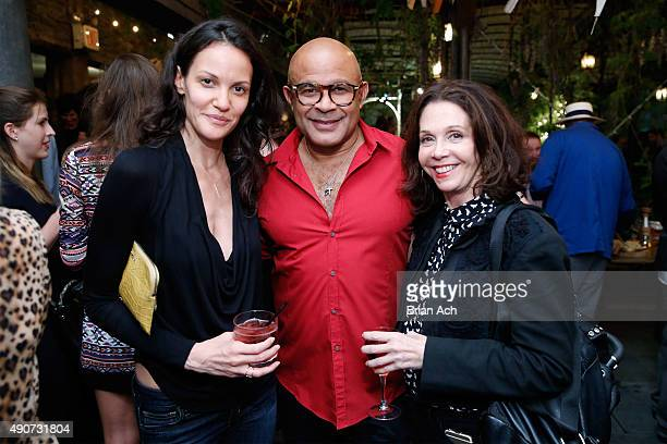 Model Claudia Mason and photographers Ezequiel De La Rosa and Andrea Blanch attend the Frederique's Choice US Launch Party at Gallow Green at The...