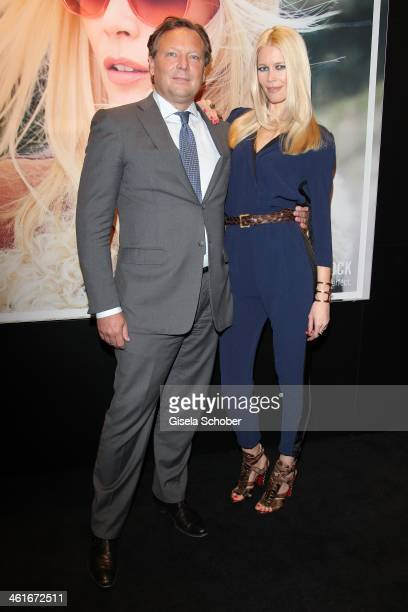 Model Claudia Schiffer and Oliver Kastalio CEO of Rodenstock attend 'Claudia Schiffer by Rodenstock' press talk at Messe Muenchen on January 10 2014...