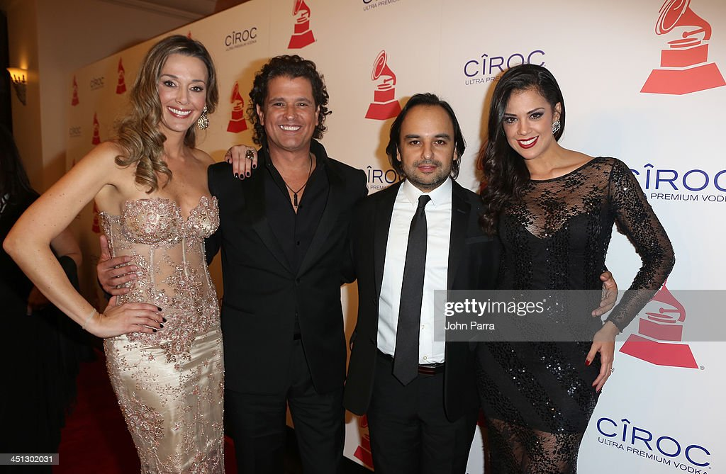 Model Claudia Vasquez, singer <a gi-track='captionPersonalityLinkClicked' href=/galleries/search?phrase=Carlos+Vives&family=editorial&specificpeople=235771 ng-click='$event.stopPropagation()'>Carlos Vives</a>, recording artist Andres Castro, and TV personality Carolina Ramirez attend The 14th Annual Latin GRAMMY Awards after party at the Mandalay Bay Events Center on November 21, 2013 in Las Vegas, Nevada.