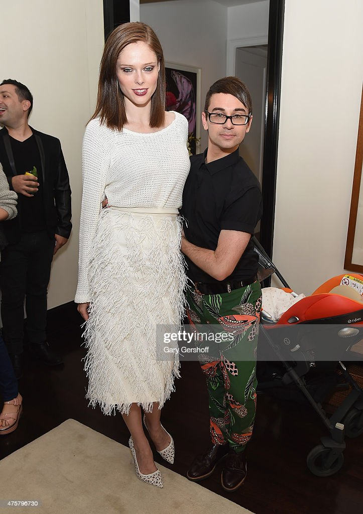 Model Coco Rocha and designer Christian Siriano attend the Christian Siriano Resort 2016 Collection at Private Residence on June 3 2015 in New York...