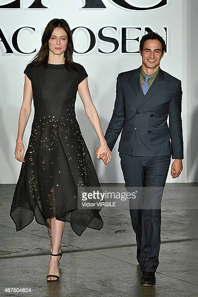Model Coco Rocha and designer Zac Posen walk the runway at the ZAC Zac Posen show during the SS16 NYFW on September 8 2015 in New York City