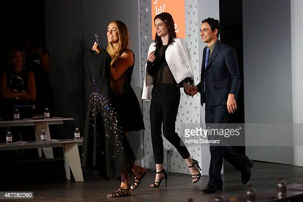 Model Coco Rocha and designer Zac Posen walk the runway with the Google Made with Code LED dress at the ZAC Zac Posen SS16 NYFW show in partnership...