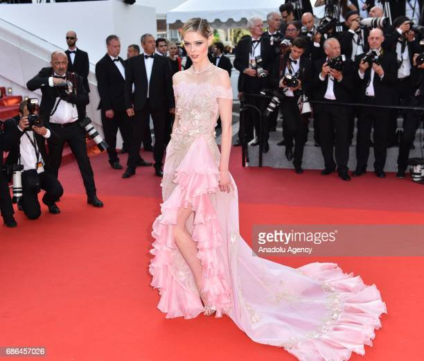 US model Coco Rocha arrives for the film The Meyerowitz Stories in competition at the 70th annual Cannes Film Festival in Cannes France on May 21 2017