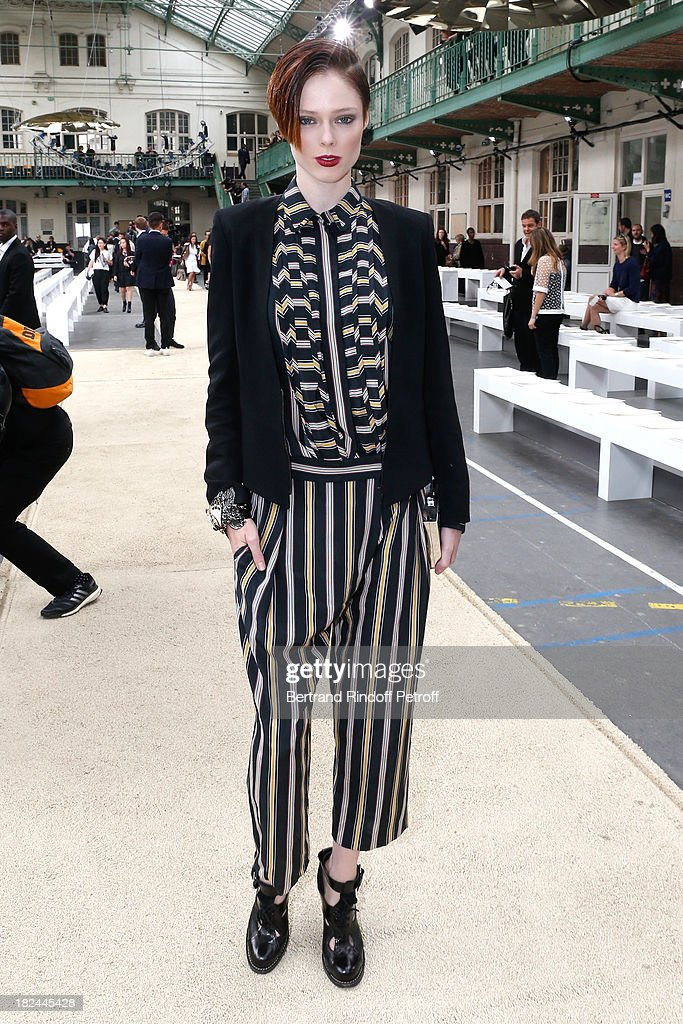 Model <a gi-track='captionPersonalityLinkClicked' href=/galleries/search?phrase=Coco+Rocha&family=editorial&specificpeople=4172514 ng-click='$event.stopPropagation()'>Coco Rocha</a> attends Chloe show as part of the Paris Fashion Week Womenswear Spring/Summer 2014, held at Lycee Carnot on September 29, 2013 in Paris, France.
