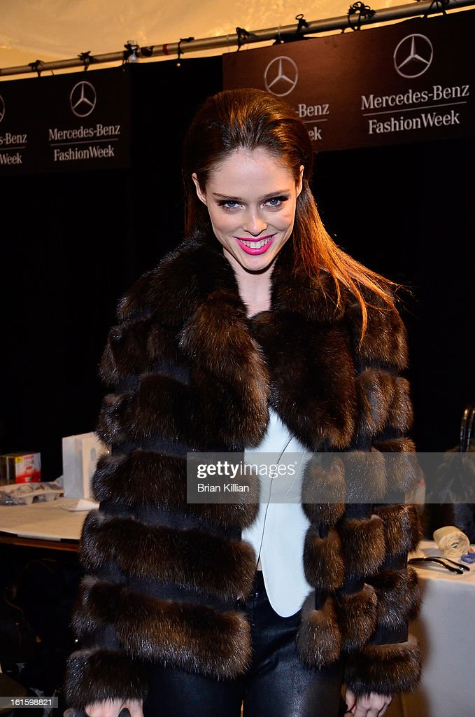 Model Coco Rocha attends Dennis Basso during Fall 2013 Mercedes-Benz Fashion Week at The Stage at Lincoln Center on February 12, 2013 in New York City.