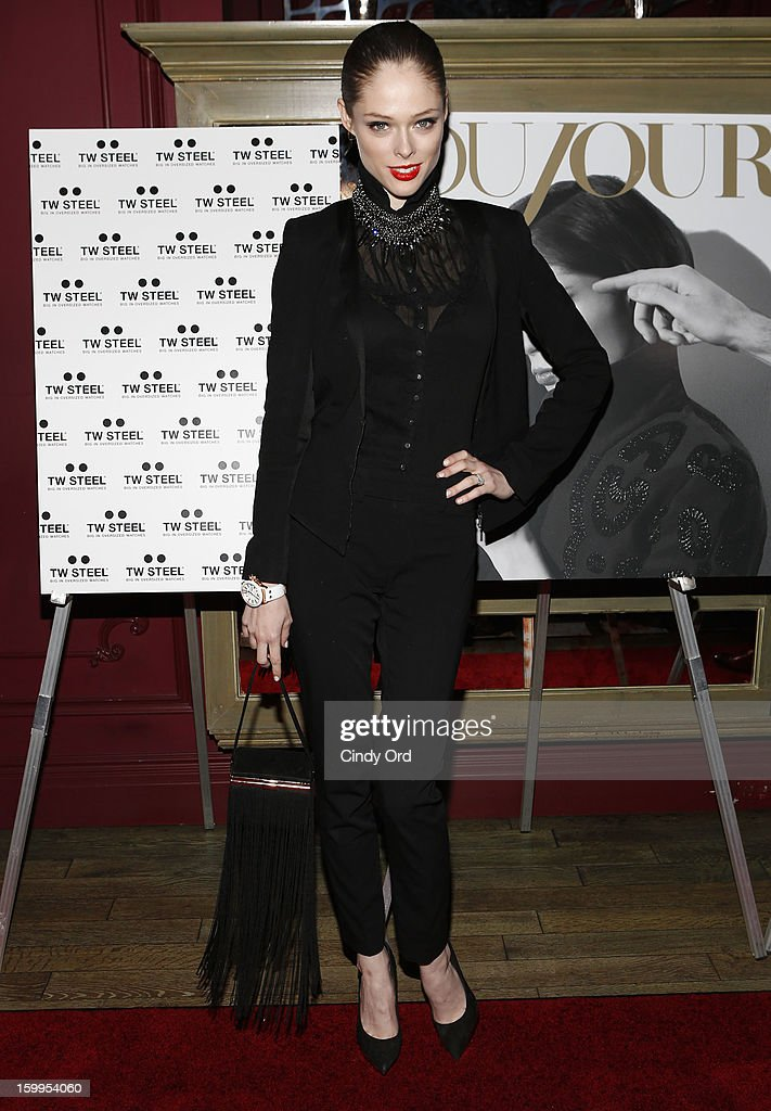 Model Coco Rocha attends DuJour Magazine Gala with Coco Rocha and Nigel Barker presented by TW Steel at Scott Sartiano and Richie Akiva's The Darby on January 23, 2013 in New York City.
