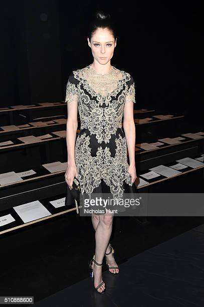 Model Coco Rocha attends the Marchesa Fall 2016 fashion show during New York Fashion Week The Shows at The Dock Skylight at Moynihan Station on...