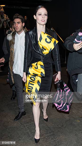 Model Coco Rocha is seen outside the Jeremy Scott Fall 2016 fashion show during New York Fashion Week The Shows at The Arc Skylight at Moynihan...