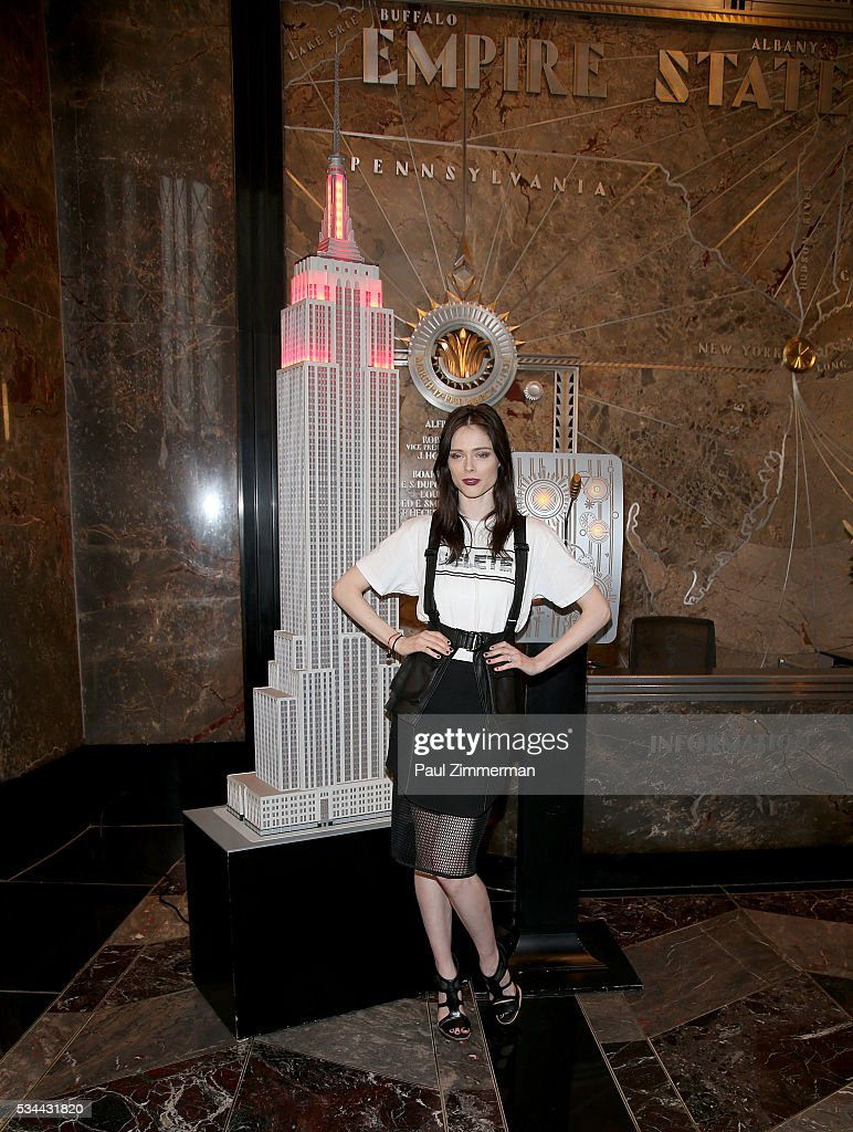 Model Coco Rocha Lights The Empire State Building In Honor Of World Blood Day at The Empire State Building on May 26, 2016 in New York City.