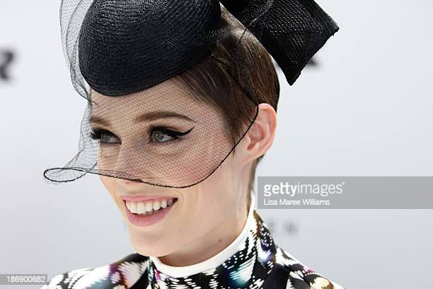 Model Coco Rocha looks on during Melbourne Cup Day at Flemington Racecourse on November 5 2013 in Melbourne Australia