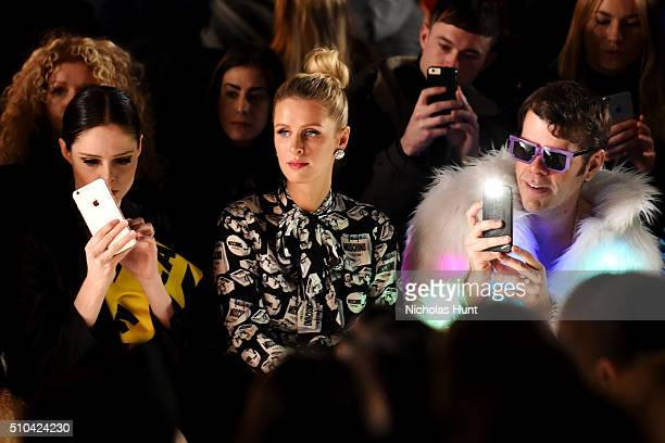 Model Coco Rocha Nicky Hilton and blogger Perez Hilton attend the Jeremy Scott Fall 2016 fashion show during New York Fashion Week The Shows at The...