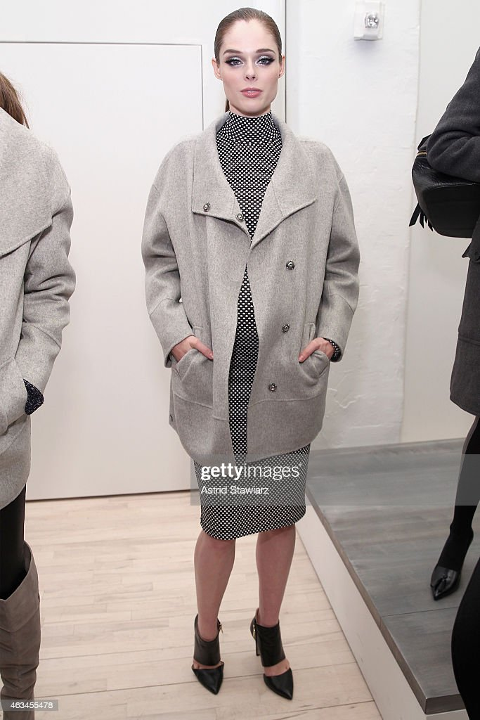 Model Coco Rocha poses at the Banana Republic presentation with TRESemme during MercedesBenz Fashion Week Fall 2015 on February 14 2015 in New York...
