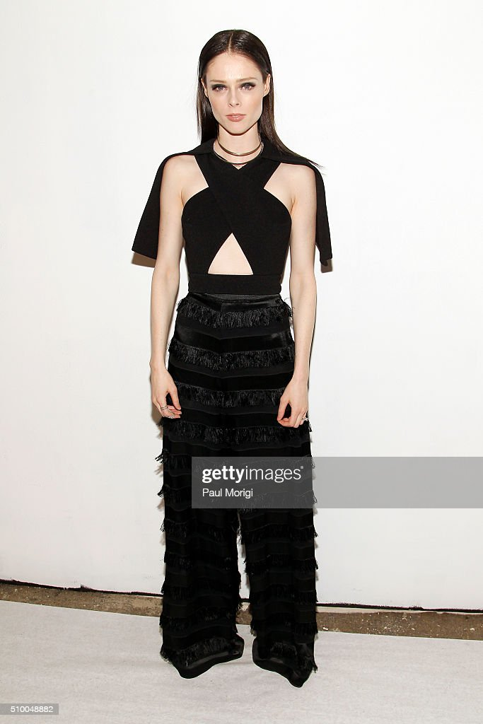 Model <a gi-track='captionPersonalityLinkClicked' href=/galleries/search?phrase=Coco+Rocha&family=editorial&specificpeople=4172514 ng-click='$event.stopPropagation()'>Coco Rocha</a> poses backstage at the Christian Siriano Fall 2016 fashion show during New York Fashion Week at ArtBeam on February 13, 2016 in New York City.