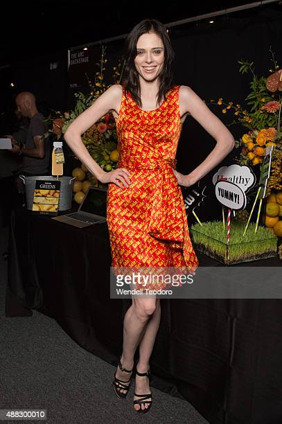 Model Coco Rocha poses backstage before the Jeremy Scott show at The Arc Skylight at Moynihan Station as part of 'NYFW The Shows' Spring 2016 New...