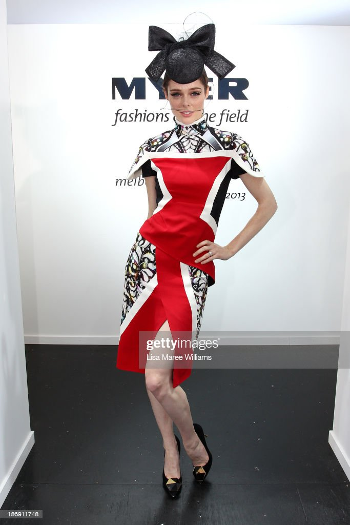 Model <a gi-track='captionPersonalityLinkClicked' href=/galleries/search?phrase=Coco+Rocha&family=editorial&specificpeople=4172514 ng-click='$event.stopPropagation()'>Coco Rocha</a> poses during Melbourne Cup Day at Flemington Racecourse on November 5, 2013 in Melbourne, Australia.