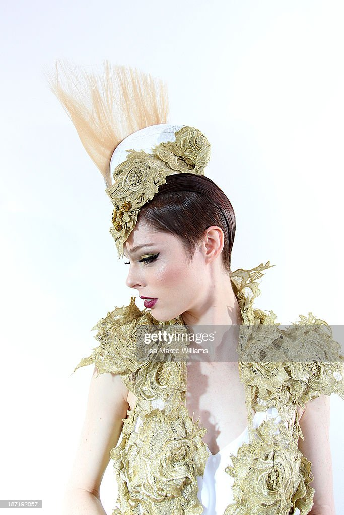 Model <a gi-track='captionPersonalityLinkClicked' href=/galleries/search?phrase=Coco+Rocha&family=editorial&specificpeople=4172514 ng-click='$event.stopPropagation()'>Coco Rocha</a> poses during Oaks Day at Flemington Racecourse on November 7, 2013 in Melbourne, Australia.