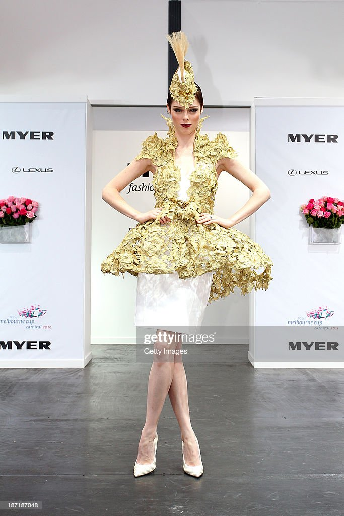 Model <a gi-track='captionPersonalityLinkClicked' href=/galleries/search?phrase=Coco+Rocha&family=editorial&specificpeople=4172514 ng-click='$event.stopPropagation()'>Coco Rocha</a> poses for photos at Myer Fashions on the Field during Crown Oaks Day at Flemington Racecourse on November 7, 2013 in Melbourne, Australia.