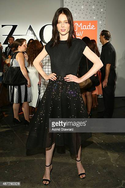 Model Coco Rocha poses in the Google Made With Code LED Dress at the ZAC Zac Posen SS16 NYFW show in partnership with Google Made With Code at...