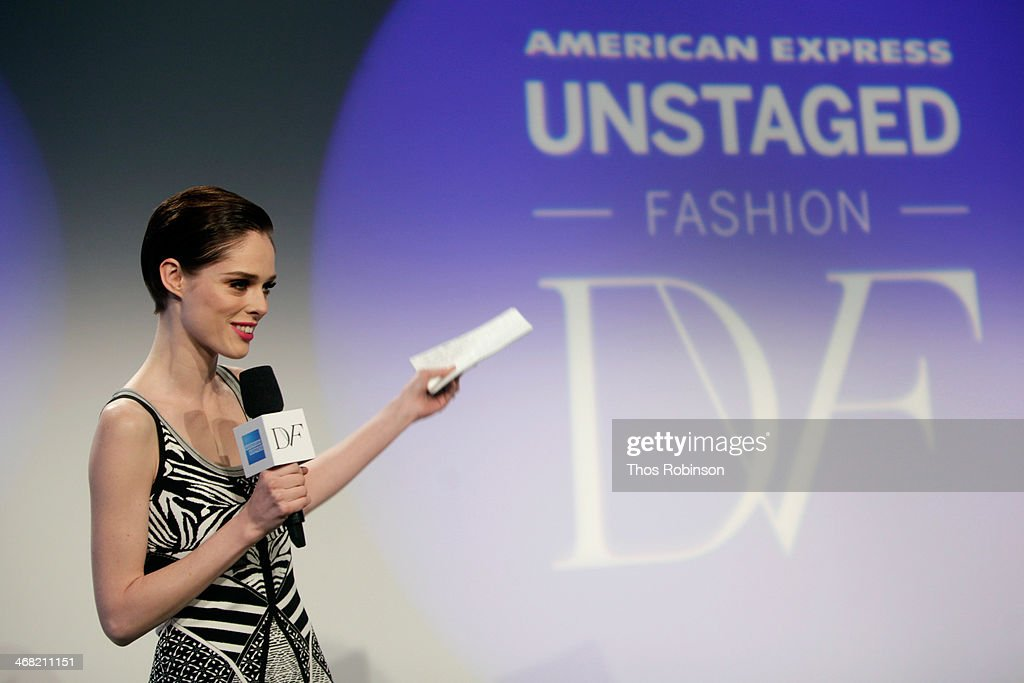 Model <a gi-track='captionPersonalityLinkClicked' href=/galleries/search?phrase=Coco+Rocha&family=editorial&specificpeople=4172514 ng-click='$event.stopPropagation()'>Coco Rocha</a> speaks at the American Express UNSTAGED Fashion with DVF at Spring Studios on February 9, 2014 in New York City.
