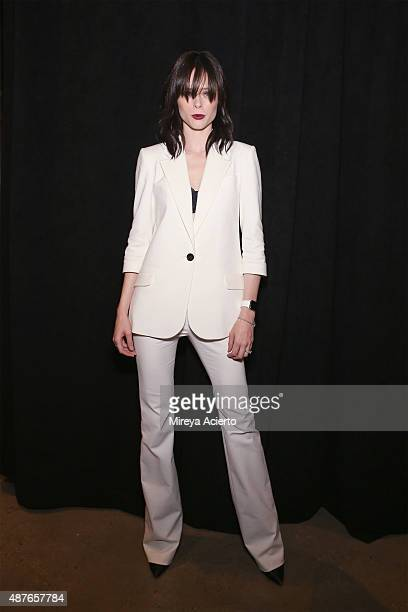Model Coco Rocha visits backstage before Marissa Webb fashion during Spring 2016 MADE Fashion Week at Milk Studios on September 10 2015 in New York...