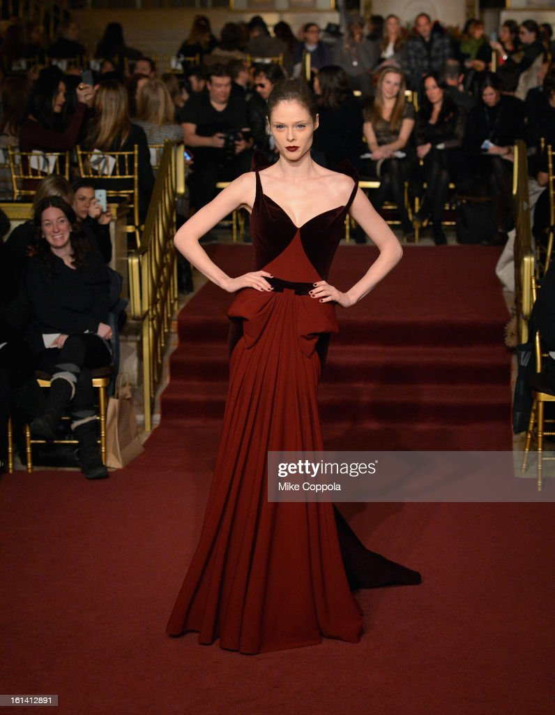 Model Coco Rocha walks the runway at the Zac Posen Fall 2013 fashion show during Mercedes-Benz Fashion Week on February 10, 2013 in New York City.