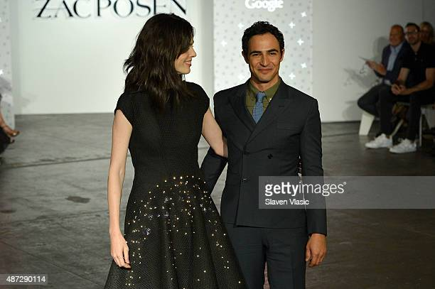 Model Coco Rocha walks the runway in the Google Made With Code LED dress with designer Zac Posen at the ZAC Zac Posen SS16 NYFW show in partnership...
