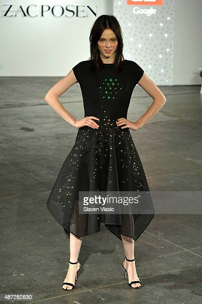 Model Coco Rocha wallks the runway in the Google Made With Code LED Dress at the ZAC Zac Posen SS16 NYFW show in partnership with Google Made With...