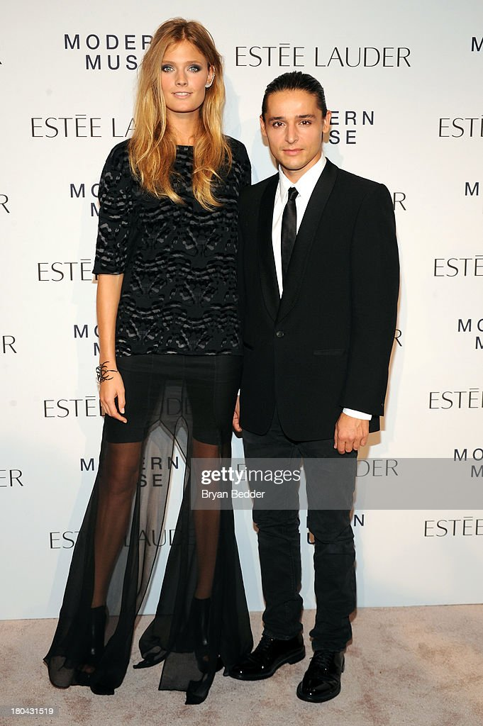 Model Constance Jablonski and designer Olivier Theyskens attend the Estee Lauder 'Modern Muse' Fragrance Launch Party at the Guggenheim Museum on September 12, 2013 in New York City.