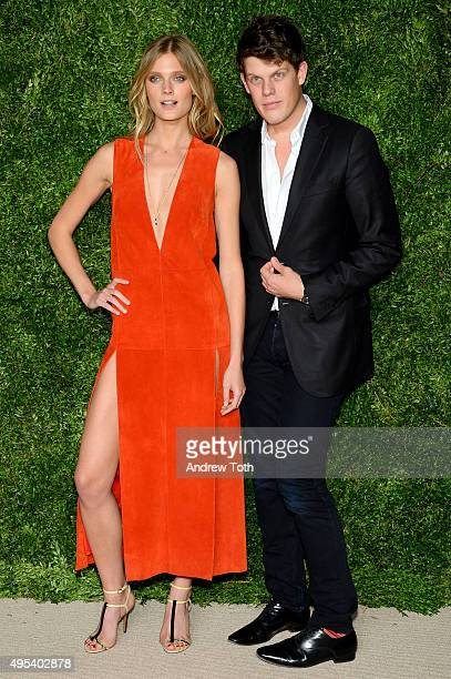 Model Constance Jablonski and Wes Gordon attend the 12th annual CFDA/Vogue Fashion Fund Awards at Spring Studios on November 2 2015 in New York City