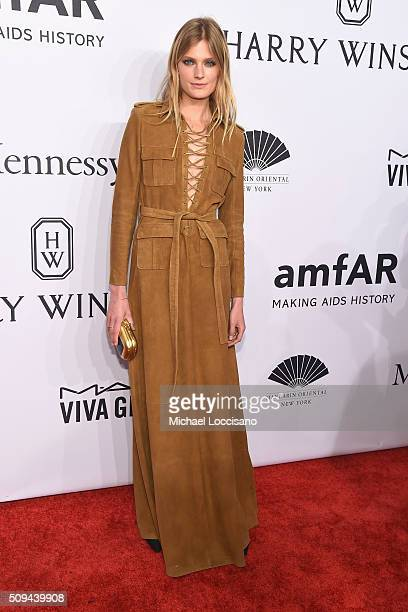 Model Constance Jablonski attends 2016 amfAR New York Gala at Cipriani Wall Street on February 10 2016 in New York City