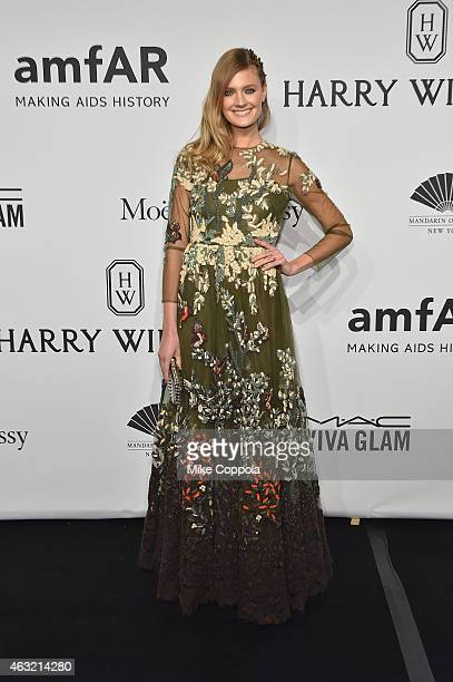Model Constance Jablonski attends the 2015 amfAR New York Gala at Cipriani Wall Street on February 11 2015 in New York City