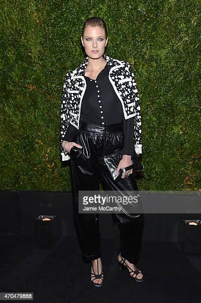 Model Constance Jablonski attends the Chanel Dinner during the 2015 Tribeca Film Festival at Balthazar on April 20 2015 in New York City