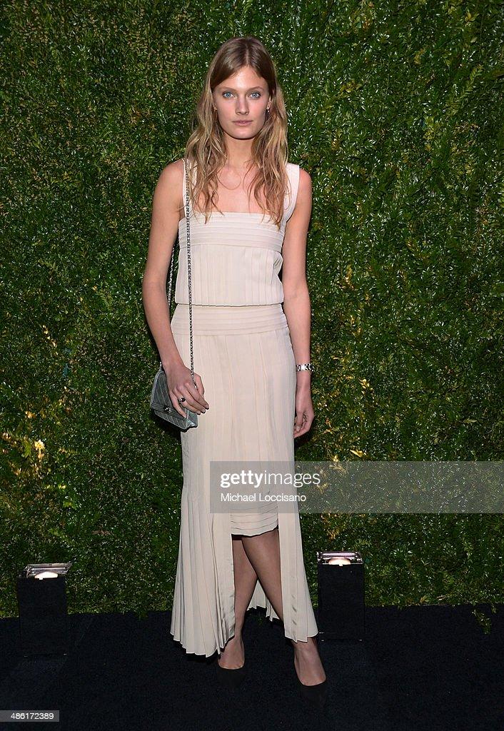 Model Constance Jablonski attends the CHANEL Tribeca Film Festival Artists Dinner at Balthazar on April 22, 2014 in New York City.