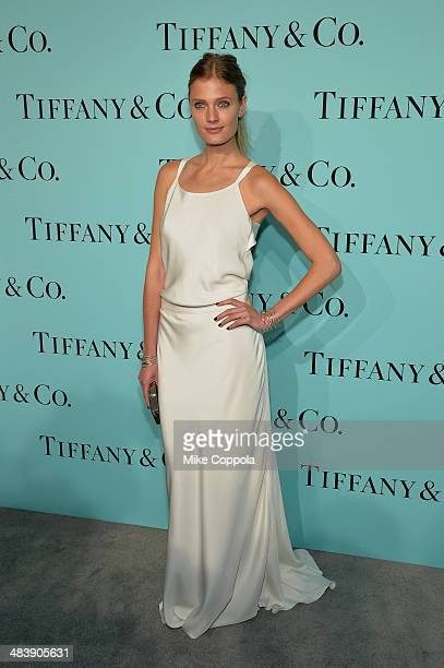 Model Constance Jablonski attends the Tiffany Debut of the 2014 Blue Book on April 10 2014 at the Guggenheim Museum in New York United States